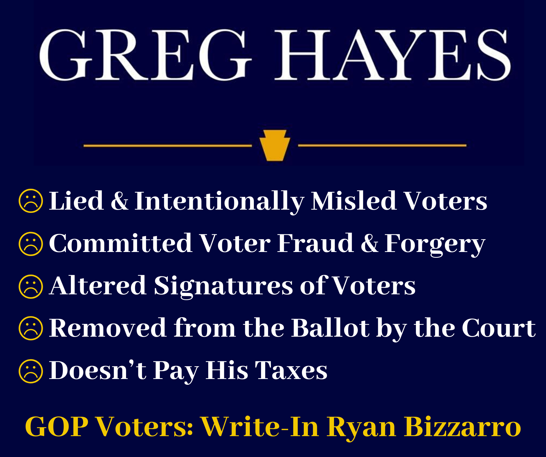George Hayes Committed Forgery and was Removed from the Ballot
